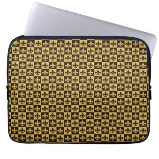 Black and Gold Fleur de lis Laptop Computer Sleeve