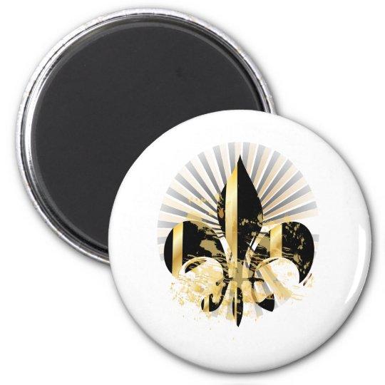 Black and Gold Fleur de Lis Magnet