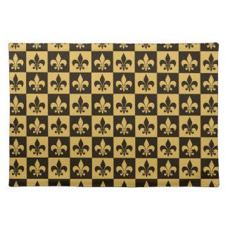 Black and Gold Fleur de lis Placemat