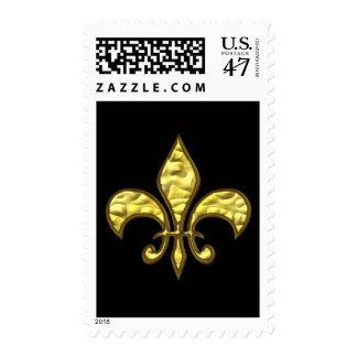 Black and Gold Fleur de Lis Postage
