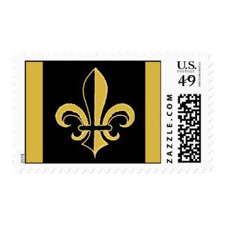Black and Gold Fleur de lis Postage Stamps