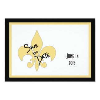 Black and Gold Fleur de Lis Save the Date Cards