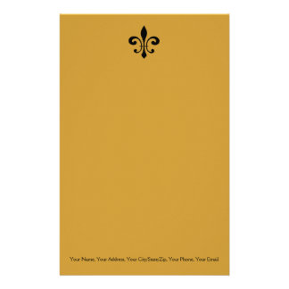 Black and Gold  Fleur De Lis Personalized Stationery