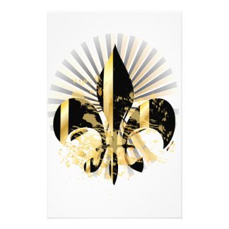 Black and Gold Fleur de Lis Stationery