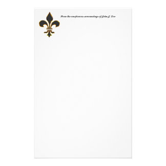 Black and Gold Fleur-de-Lis  Stationery