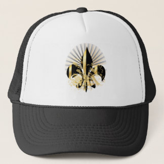 Black and Gold Fleur de Lis Trucker Hat