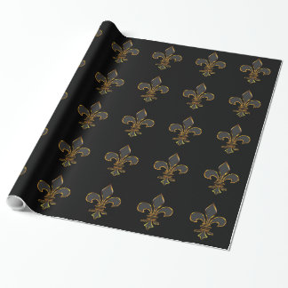 Black and Gold Fleur-de-lis Wrapping Paper