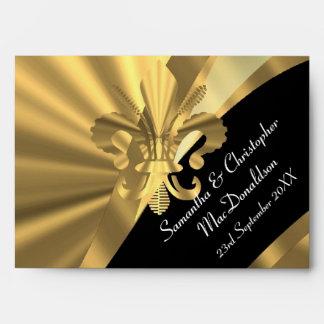 Black and gold fleur de lys envelope