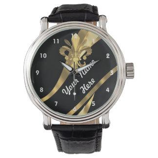 Black and gold fleur de lys personalized wristwatch