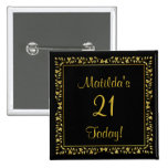 Black and Gold Floral 21st Birthday Button