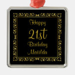 Black and Gold Floral 21st Birthday Ornament