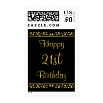 Black and Gold Floral 21st Birthday Postage