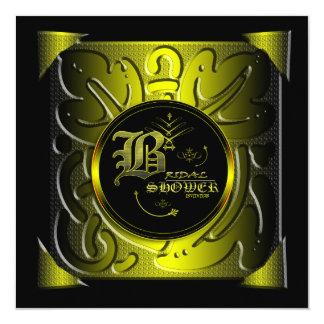 Black and Gold Floral Bridal Shower Invitation