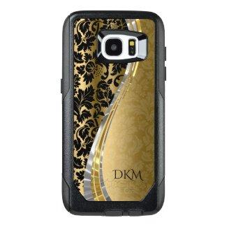 Black And Gold Floral Damask