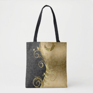 Black And Gold Floral Damask And Gold Swirl Tote Bag