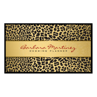 Black And Gold Floral Damasks & Animal Print Double-Sided Standard Business Cards (Pack Of 100)