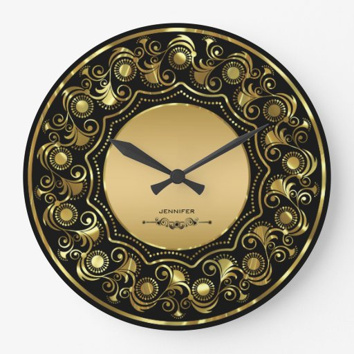 Wall Clock Floral Design : Black and gold floral design wall clock zazzle