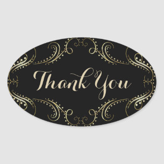 Black And Gold Floral Frame Thank You Oval Sticker