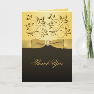 Black and Gold Floral Jewelled Thank You Card card
