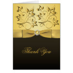 Black and Gold Floral Jewelled Thank You Card Greeting Card