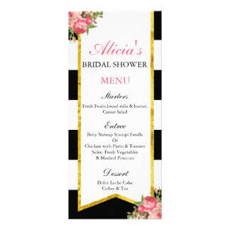 Black and Gold Floral Menu Cards