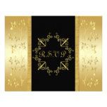 Black and Gold Floral RSVP Card Personalized Invitation