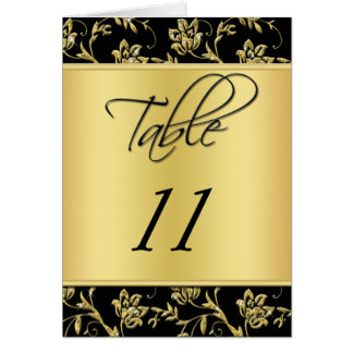 Black and Gold Floral Table Number Card
