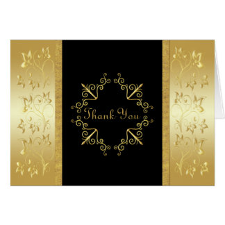 Black and Gold Floral Thank You Card Card