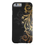 Black and Gold Floral Vine Barely There iPhone 6 Case