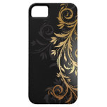 Black and Gold Floral Vine iPhone 5 Cover
