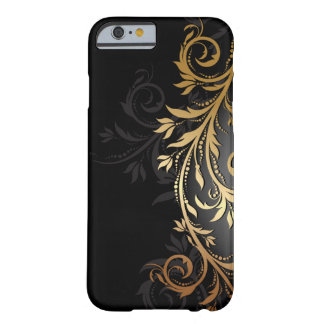 Black and Gold Floral Vine iPhone 6 Case
