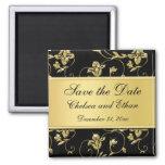 Black and Gold Floral Wedding Favor Magnet