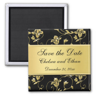 Black and Gold Floral Wedding Favor Magnet