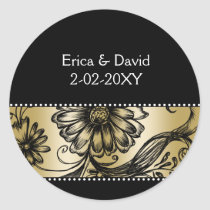 Black and Gold floral wedding invitations Classic Round Sticker