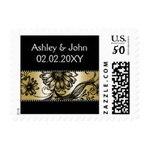 Black and Gold floral wedding invitations Postage