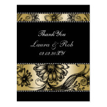 Black and Gold floral wedding invitations Postcard