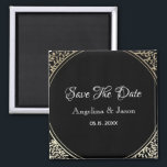 """Black and Gold Floral Wedding Save The Date Magnet<br><div class=""""desc"""">Black and Gold Floral Wedding Save The Date magnet . Luxury,  elegant,  simple. All graphic elements are free for change,  move or even remove - make your best combination!</div>"""