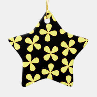 Black and gold flowers ceramic ornament