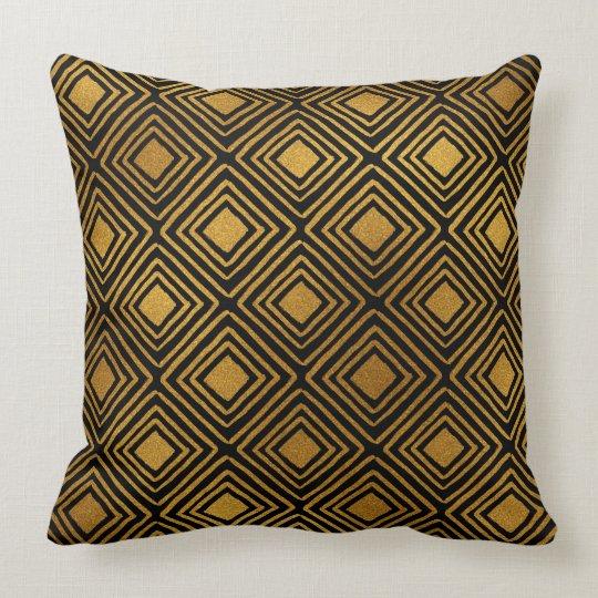 black and gold foil art deco pattern throw pillow. Black Bedroom Furniture Sets. Home Design Ideas