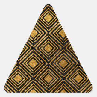 Black and Gold Foil Art Deco Pattern Triangle Sticker