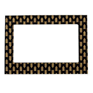 Black and Gold Foil Christmas Trees Pattern Magnetic Frame