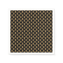 Black and Gold Foil Christmas Trees Pattern Paper Napkin