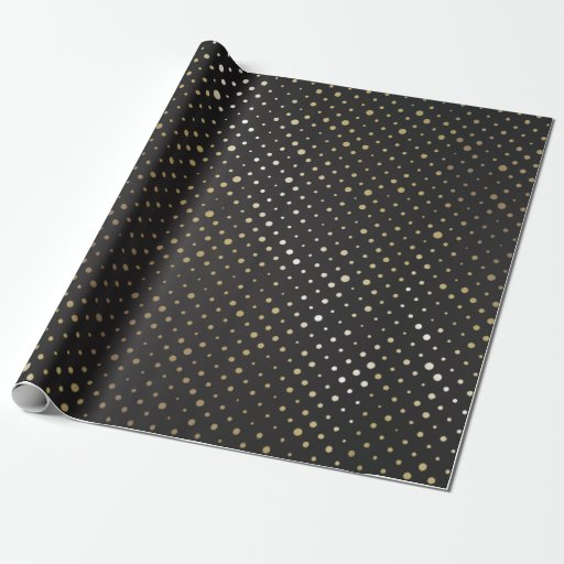 black and gold foil confetti polka dots wrapping paper zazzle. Black Bedroom Furniture Sets. Home Design Ideas