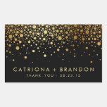 Black and Gold Foil Confetti Wedding Favor Sticker