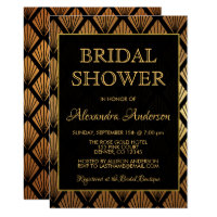 Black and Gold Foil Elegant Art Deco Bridal Shower Card