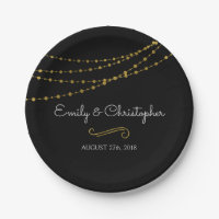 Black and Gold Foil String Lights Plates