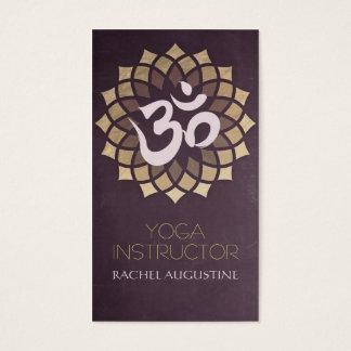 Black and Gold Foil Yoga Mandala Lotus & Om Symbol Business Card
