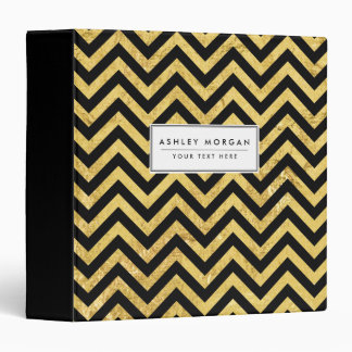 Black and Gold Foil Zigzag Stripes Chevron Pattern Binder