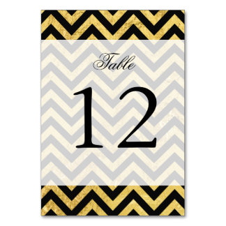 Black and Gold Foil Zigzag Stripes Chevron Pattern Card