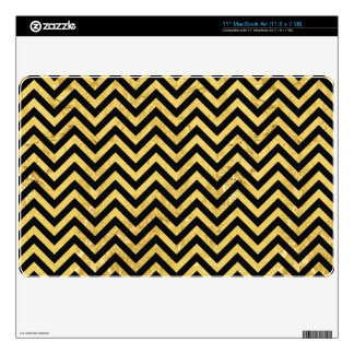 Black and Gold Foil Zigzag Stripes Chevron Pattern Decal For The MacBook Air